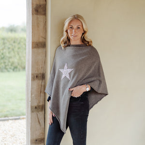 Sparkle Star Poncho Taupe