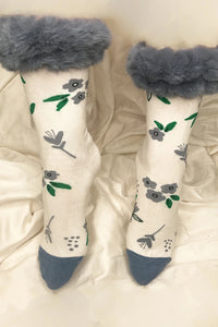 Cream and Grey Floral silk blend faux fur socks