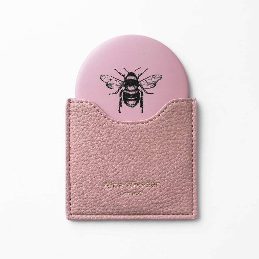 Pink Bee Pouch Mirror