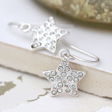 Silver plated crystal inset star drop earrings
