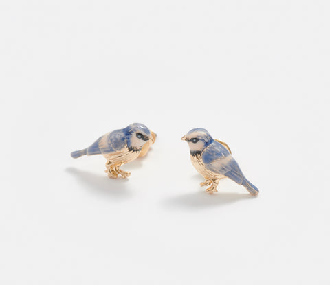 Enamel Blue Tit Stud Earrings