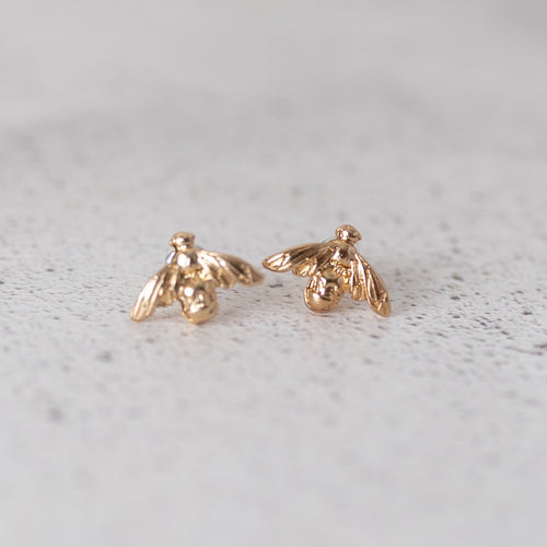 Gold Bee Stud Earrings