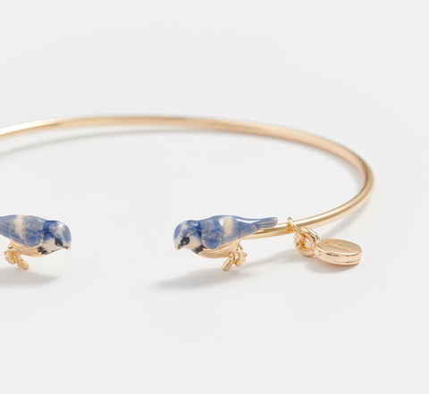 Enamel Blue Tit Bangle Bracelet