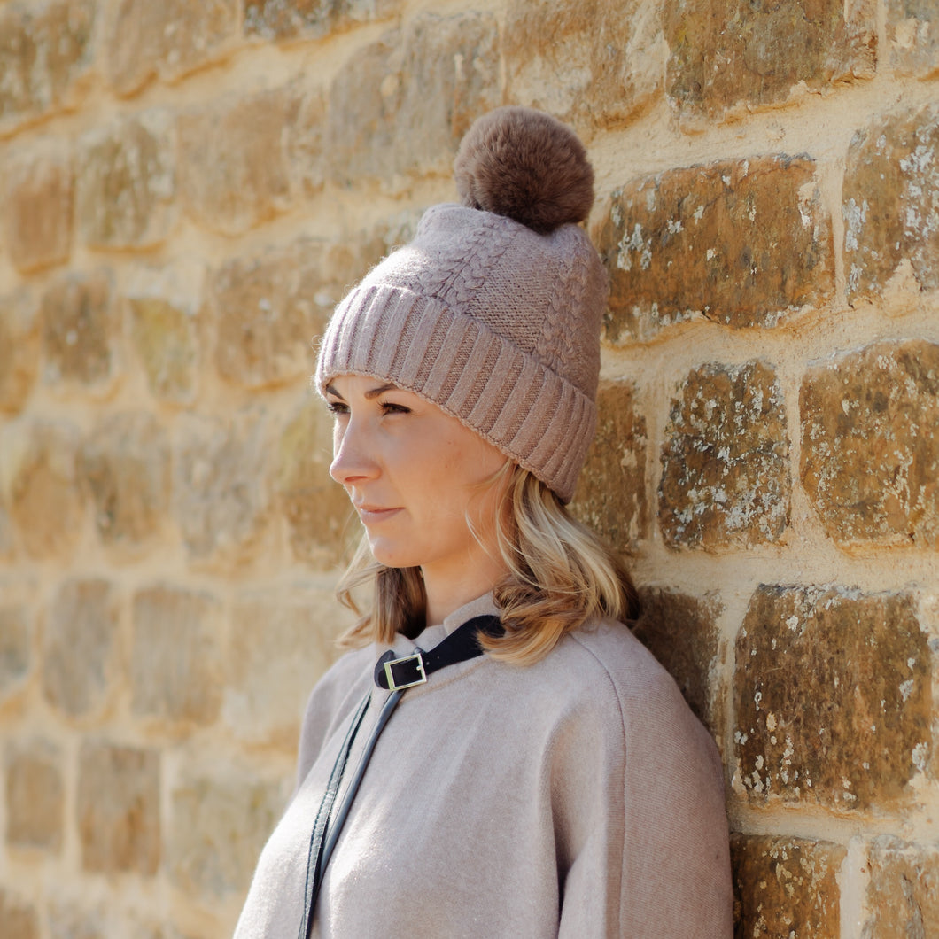 Braided Pom Pom Hat Brown