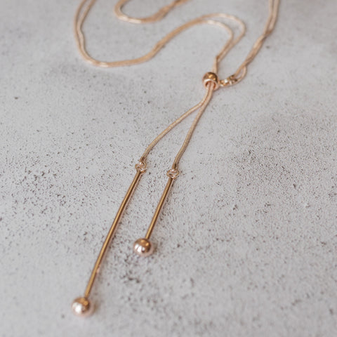 Rose Gold Double Drop Lariat Necklace