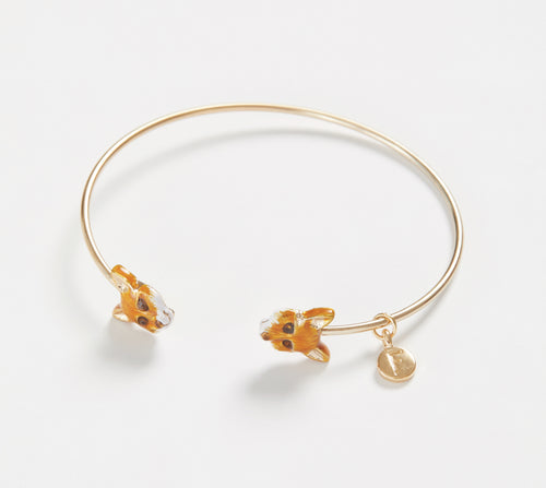 Enamelled Gold Fox Bangle Bracelet