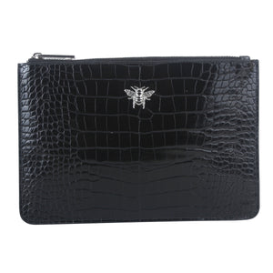 Black Croc Bee Clutch Bag