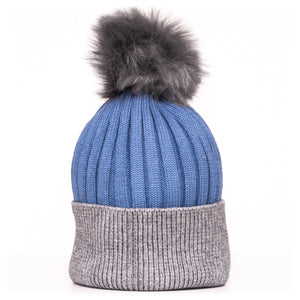 Pom Pom Hat Blue and Grey