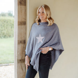 Sparkle Star Poncho Grey