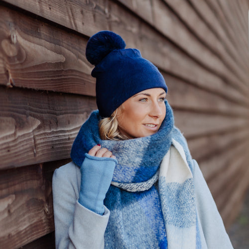Lightweight Pom Pom Hat Navy Blue