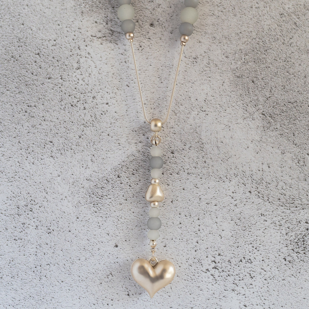 Gold Heart Necklace with Blue and Cream Beads