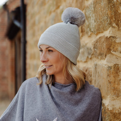 Sparkle Pom Pom Hat Grey
