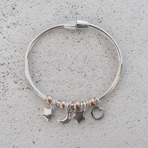 Silver Star & Moon Bangle