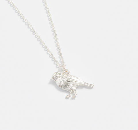 Short Silver Blue Tit Necklace