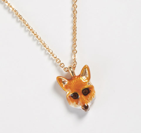 Short Enamel Fox Necklace
