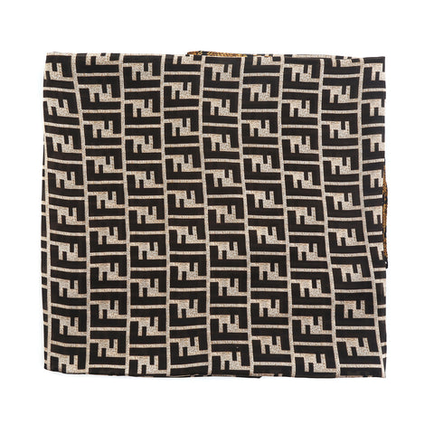Black Pattern and Gold Snake Print Design Silk Scarf
