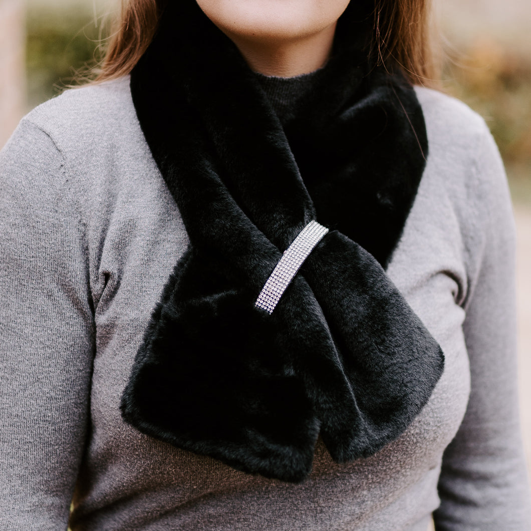 Black Diamanté Faux Fur Scarf