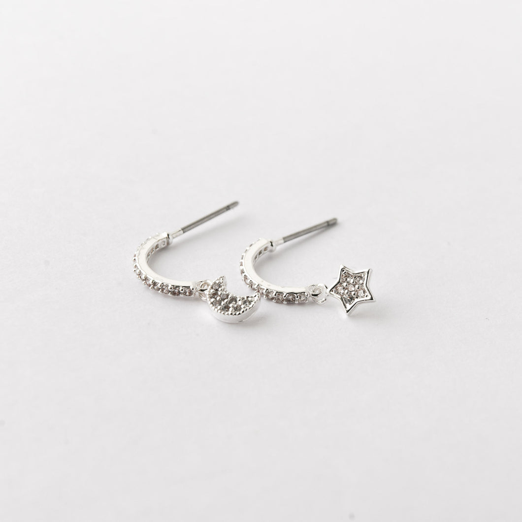 Moon and Star Silver Earrings