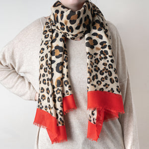 Animal Print Scarf With Red Trim