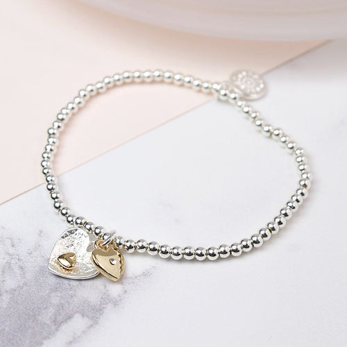 Silver and Gold Plated Double Heart Bracelet
