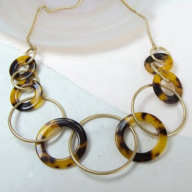 Worn Gold and Acrylic Multi Hoop Necklace