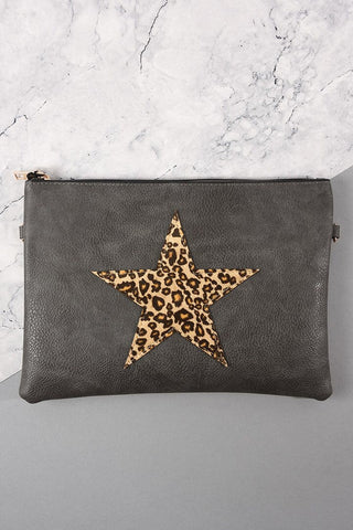 Leopard Print Star Clutch Bag Dark Grey