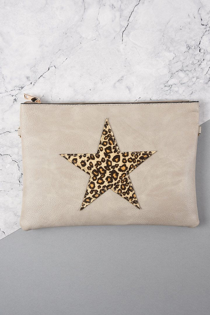 Leopard Print Star Clutch Bag Taupe