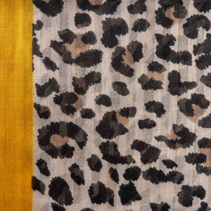Animal Print Scarf With Yellow Trim