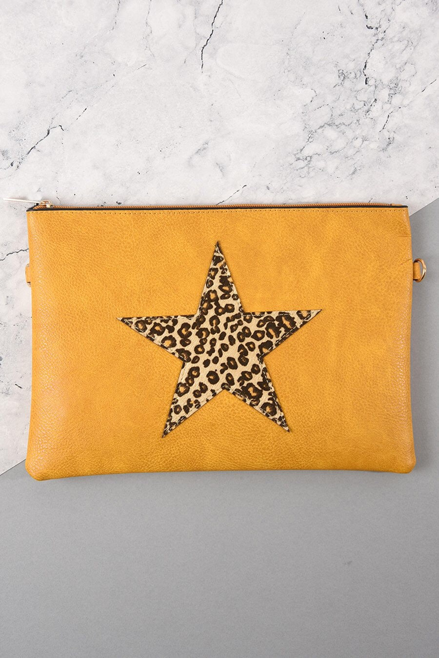 Leopard Print Star Clutch Bag Mustard