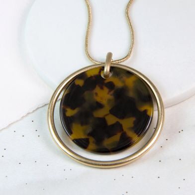 Worn Gold Circle and Acrylic Disc Necklace