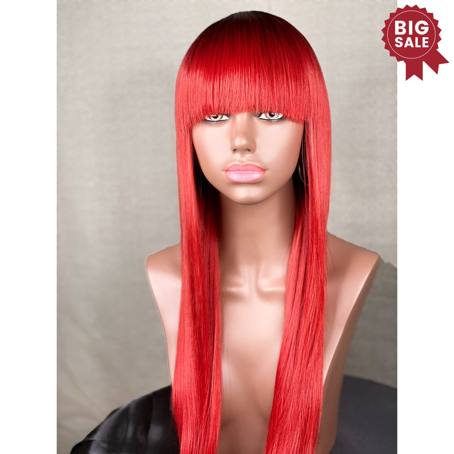 New Premium Synthetic Red Wig