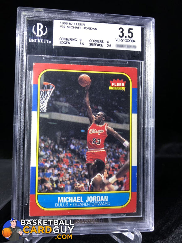 1986-87 Fleer #57 Michael Jordan RC BGS 3.5 CENTERED (9)! - Basketball Cards