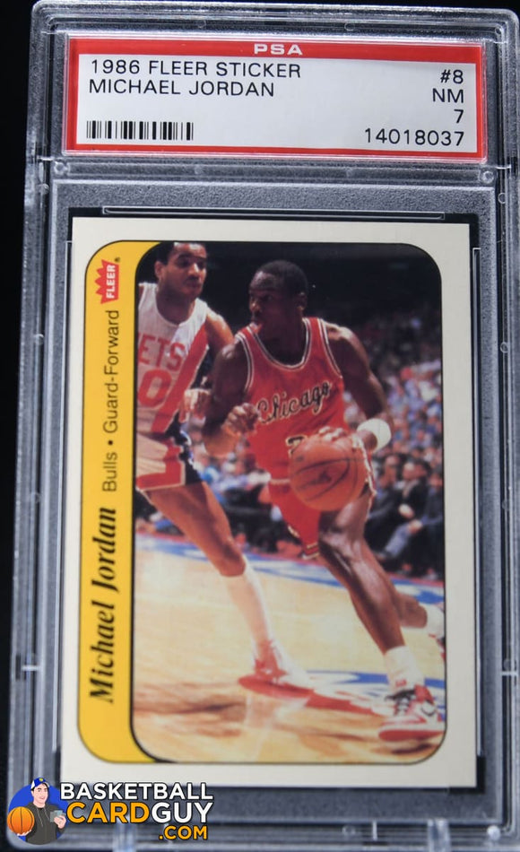 1986-87 Fleer Stickers #8 Michael Jordan PSA 7 - Basketball Cards