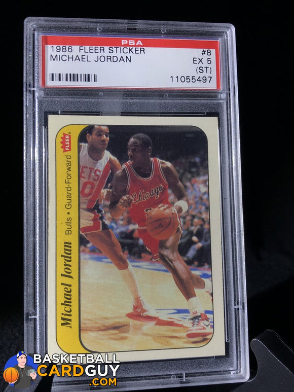 1986-87 Fleer Stickers #8 Michael Jordan RC Sticker PSA 5 - Basketball Cards