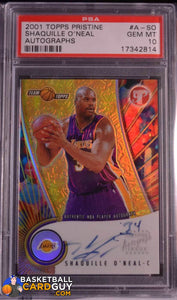 2001-02 Topps Pristine Autographs #ASO Shaquille O'Neal PSA 10 GEM MINT - Basketball Cards
