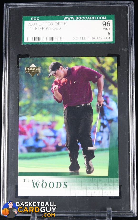 2001Upper Deck Golf #1 TIGER WOODS Rookie Mint SGC 96 graded, rookie card