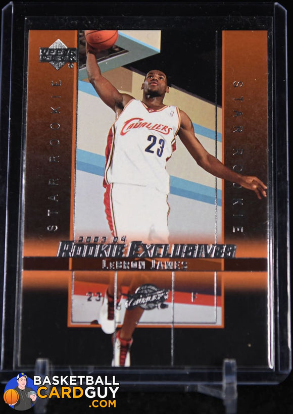 2003-04 Upper Deck Rookie Exclusives #1 LeBron James RC basketball card, rookie card