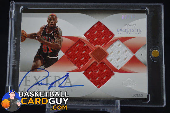 2007-08 Exquisite Collection Extra Quad Jerseys Autographs #EQRO Dennis Rodman - Basketball Cards