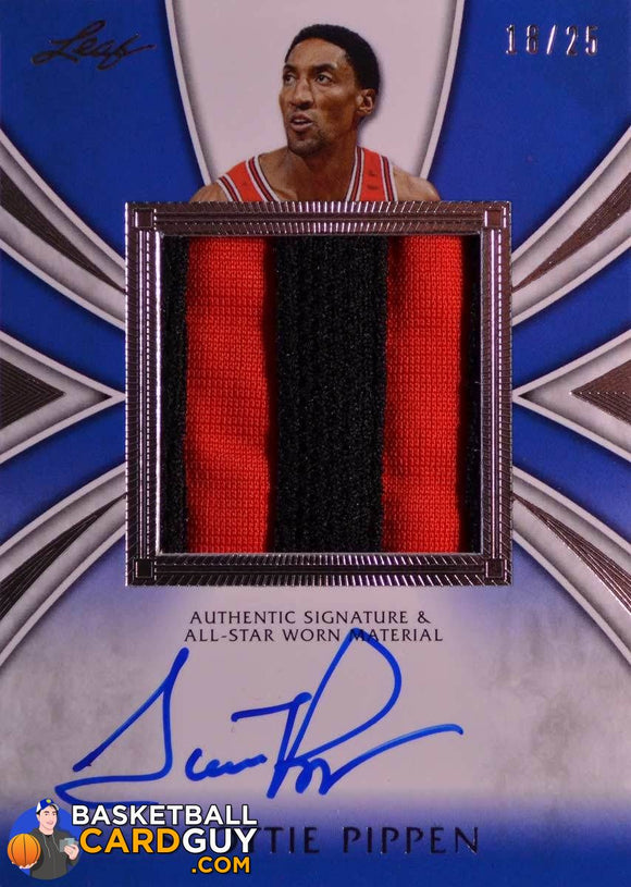 2012-13 Leaf Signature Scottie Pippen Patch Autographs #SP2 Scottie Pippen Blue/25 - Basketball Cards