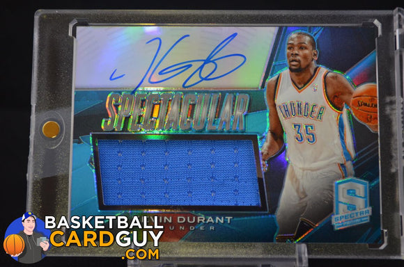 2013-14 Panini Spectra Spectacular Swatch Signatures Light Blue #70 Kevin Durant/20 - Basketball Cards