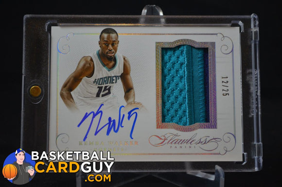 2014-15 Panini Flawless Patch Autographs #59 Kemba Walker/25 - Basketball Cards