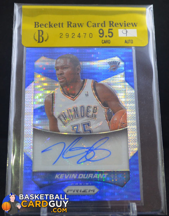 2014-15 Panini Prizm Autographs Prizms Blue Pulsar #15 Kevin Durant/75 BGS 9.5 - Basketball Cards