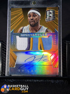 2014-15 Panini Spectra Spectacular Swatches Signatures Prizms Orange #SSTL Ty Lawson - Basketball Cards