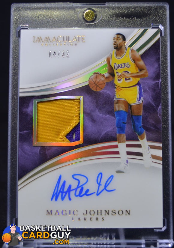 2015-16 Immaculate Collection Patch Autographs Jersey Number #PAMJO Magic Johnson/32 - Basketball Cards