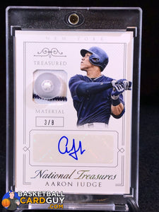 2015 Panini National Treasures Treasured Signature Materials Button #74 Aaron Judge/8 - Basketball Cards