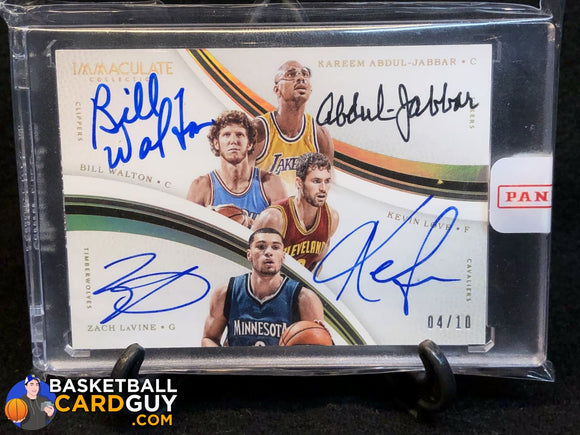 2016-17 Immaculate Collection Quad Autographs Kareem Abdul-Jabbar / Kevin Love / Zach LaVine / Bill Walton - Basketball Cards