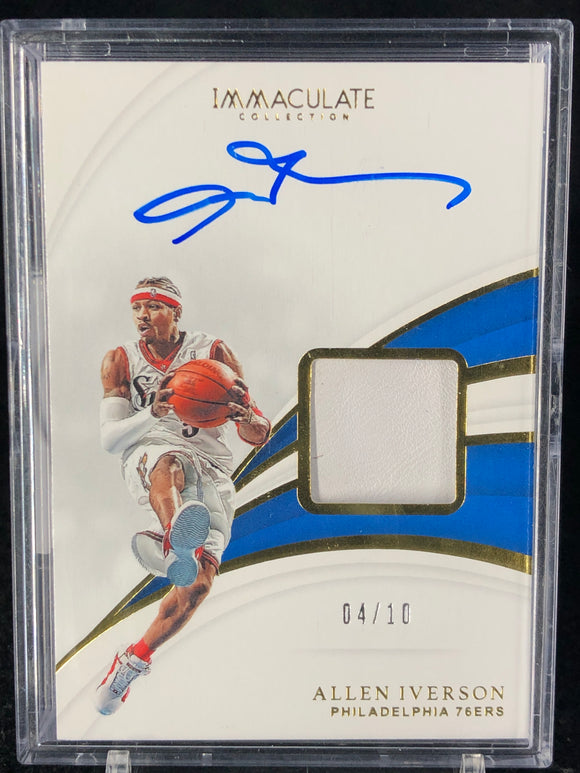 Allen Iverson 2018-19 Immaculate Collection Sneaker Swatches Signatures #/10 - Basketball Cards
