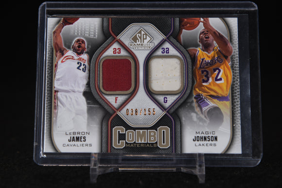 Magic Johnson / LeBron James 2009-10 SP Game Used Combo Materials #/155