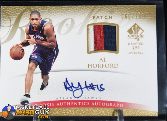 Al Horford 2007-08 SP Authentic #153 JSY AU #/299 RC autograph, basketball card, patch, rookie card