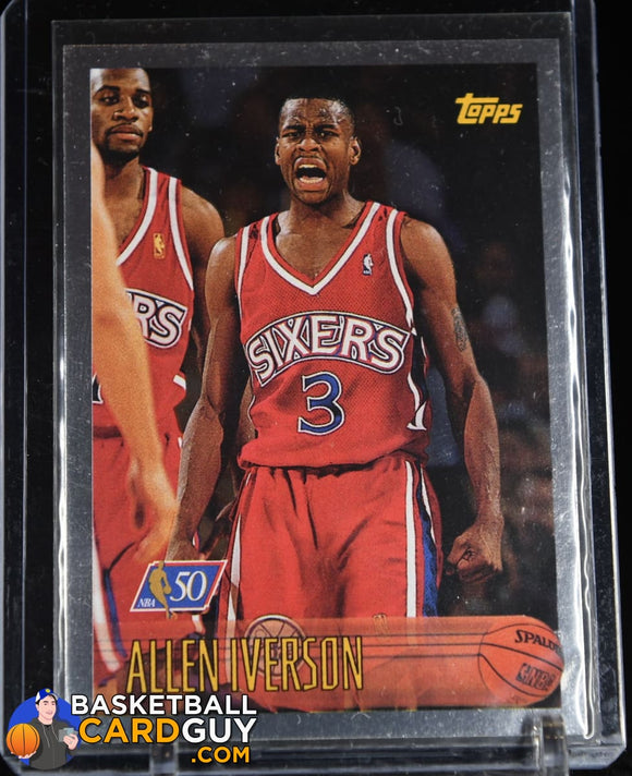 Allen Iverson 1996-97 Topps NBA at 50 #171 RC 90's insert, basketball card, refractor
